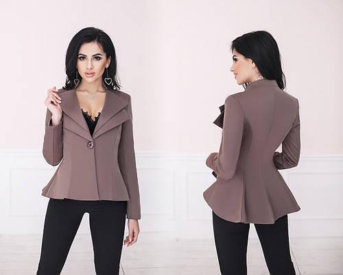 Пиджак женский на одну пуговицу с расклешенной удлиненной спинкой