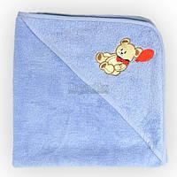 """Полотенце-уголок детское для купания махровое Home Line """"Мишка с шариком"""" 75х75 см (125404) Голубое"""