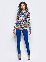 Яркий женский комплект туника с длинными рукавами и удлиненной спинкой + леггинсы 90294, фото 1