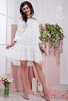Летний белый женский сарафан хлопок батист с открытыми плечами и с рукавом