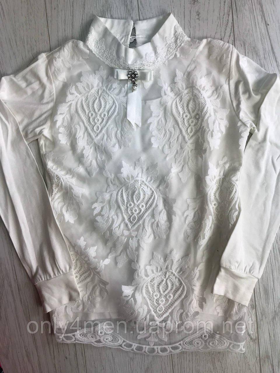 Кофта-блуза для девочек с ажурным воротничком 9-14 лет