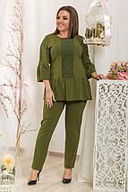 """Женский деловой брючный костюм """"FRASH"""" с блузой (большие размеры), фото 3"""
