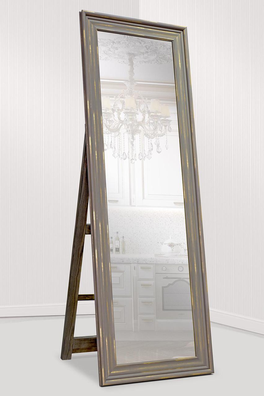 Зеркало напольное в раме Factura с деревянной подставкой Old beige 60х174 см бежевое
