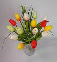 Букет тюльпанов 15 шт. из настоящего ЛАТЕКСА (не фоамиран)