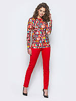 Яркий женский комплект туника с длинными рукавами и удлиненной спинкой + леггинсы 90294/1, фото 1