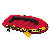 Трехместная надувная лодка Intex + пластиковые весла и ручной насос Explorer Pro 300 Set 244x117x36 cм (58358)