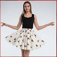 Летняя юбка солнце -клеш с принтом, белая