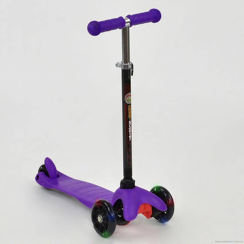 Самокат детский трехколесный Best Scooter Mini со светящимися колесами фиолетовый