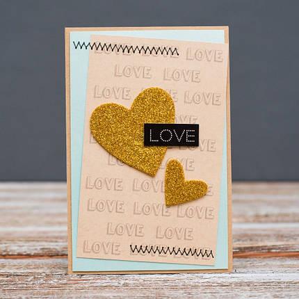 Открытка стандартная Love два золотых сердца, фото 2