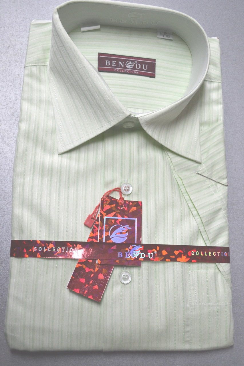 Мужская салатовая рубашка c коротким рукавом BENDU (размер 39)
