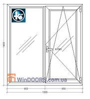 5-этажка Хрущевка. МП Окно (ПВХ) 1300х1400 мм , Kommerling 70GT plus, 70 мм, 2-х камерный стеклопакет, фото 1