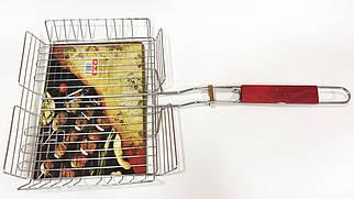 Сетка для гриля  с  деревянной ручкой 30х23 см