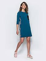 Комфортное женское хлопковое платье прямого кроя с рукавом 3/4 7032, фото 1