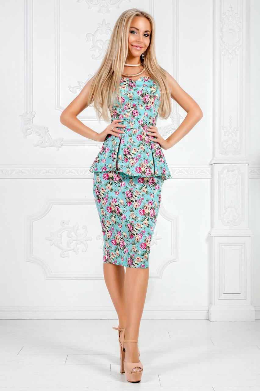 """Летний офисный женский костюм в цветочек """"RINELLE"""" с баской (3 цвета)"""