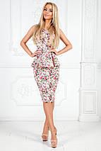 """Летний офисный женский костюм в цветочек """"RINELLE"""" с баской (3 цвета), фото 2"""