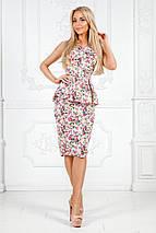 """Летний офисный женский костюм в цветочек """"RINELLE"""" с баской (3 цвета), фото 3"""