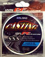Шнур Libao Casting 100% PE для рыбной ловли, 100м, 0.38мм, серый, рыболовные шнур Libao, шнур для рыбалки Libao