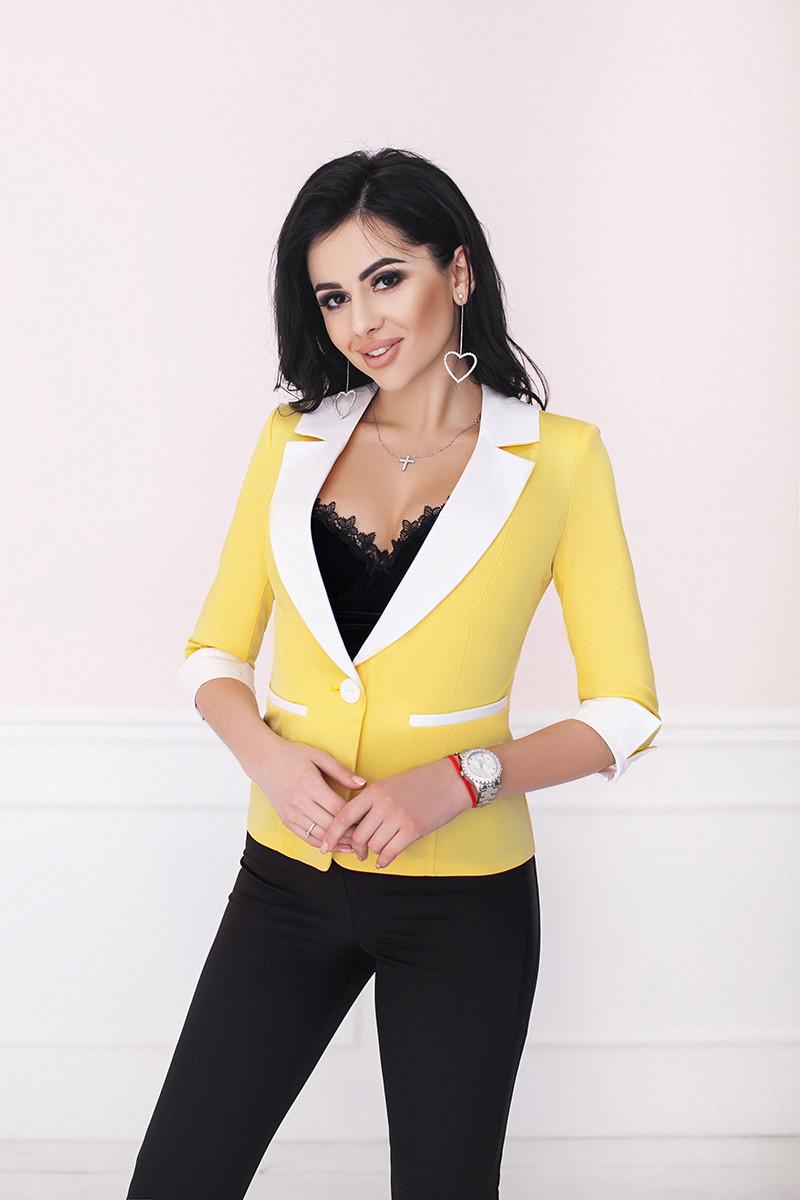 Піджак жіночий на одному гудзику рукав 3/4 з манжетом Жовтий з білим, 44