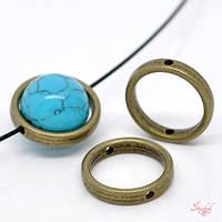 Кольцо 18мм круглая рамка для бусины бронза для рукоделия