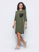 Комфортное женское хлопковое платье прямого кроя с рукавом 3/4 7032/2, фото 1