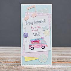 Открытка конверт Happy Birthday Машина мороженого