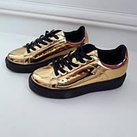 Кросівки жіночі екошкіра золотисті 40р
