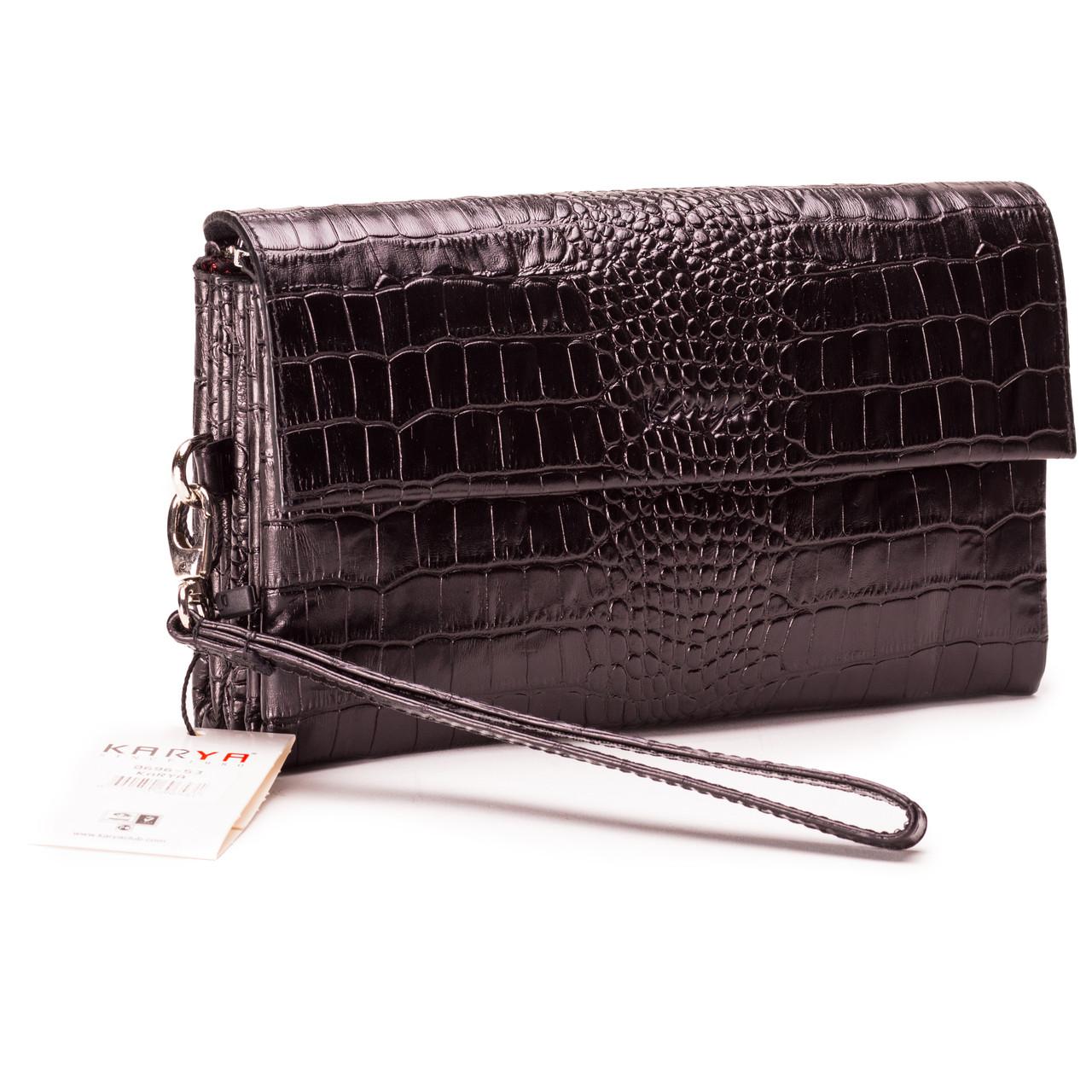 Мужская сумка барсетка кожаная черная Karya 0696-53