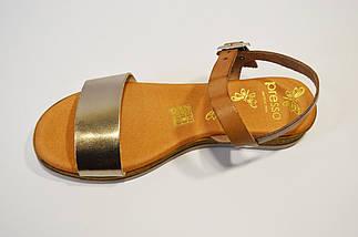 Золотистые испанские босоножки Presso, фото 2