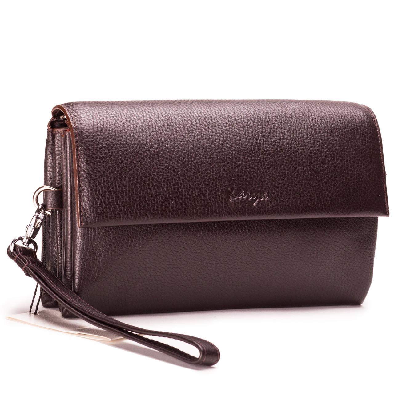 Мужская сумка барсетка кожаная коричневая Karya 0696-39