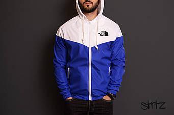 Мужская ветровка The North Face синего и белого цвета  (люкс копия)