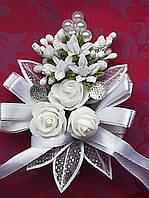 Бутоньерка  Белая 3 цветка