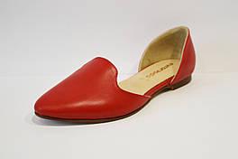 Балетки кожаные красные Euromoda