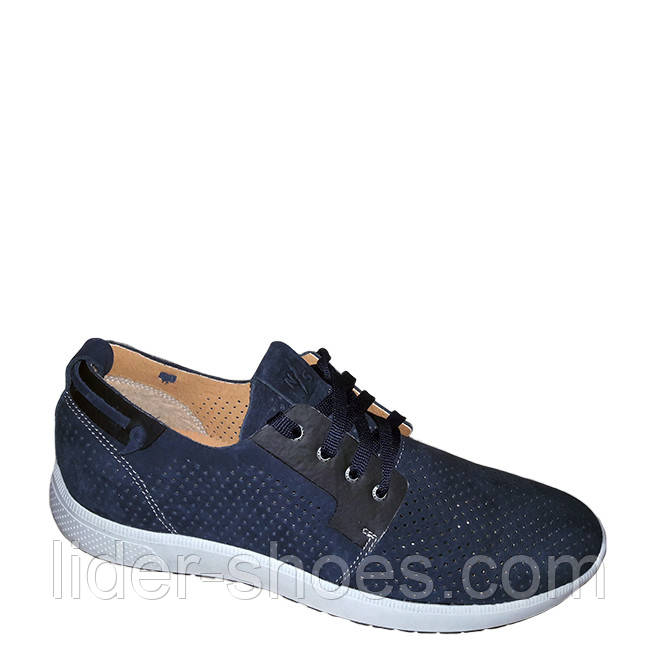 Мужские кожаные туфли на шнурках синие