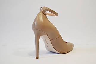 Туфли кожаные на шпильке бежевые Bravo Moda 1633, фото 3