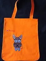 Текстильна сумка з вишивкою