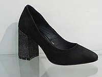 Элегантные женские туфли замшевые натуральные на устойчивом каблуке