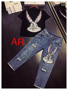 Костюм джинсы и футболка с нашивкой из пайеток в виде кролика 42-48 р