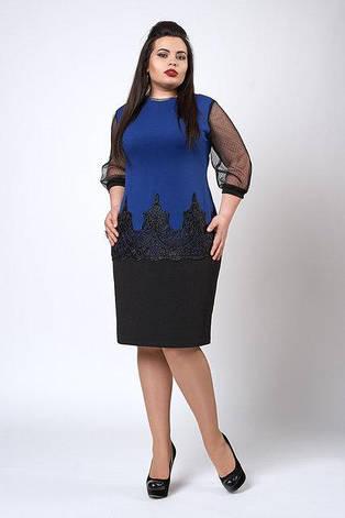 Очень красивое прямое платье из креп-дайвинга с кружевом, фото 2