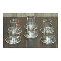 Набор стеклянных чашек с блюдцем на 6 персон Армуд, 125 мл
