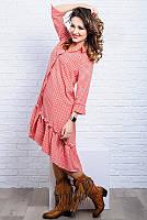 Стильное асимметричное женское платье в клетку 42-60р