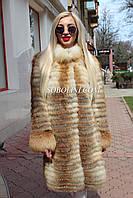 Кардиган из степной лисы, длина 90см, фото 1