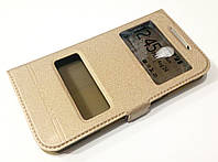 Чехол книжка с окошками momax для Lenovo S820 золотой