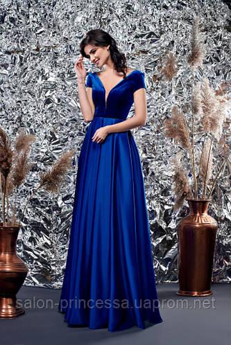 d82aa386288 Выпускное вечернее атласное синее платье с бархатом (Т-2018-40)  продажа