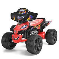 Детский квадроцикл K 775, EVA колёса, два мотора, красно-чёрный