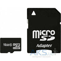 Карта памяти Exceleram 16Gb microSDHC class 10 + SD (MSD1610A)
