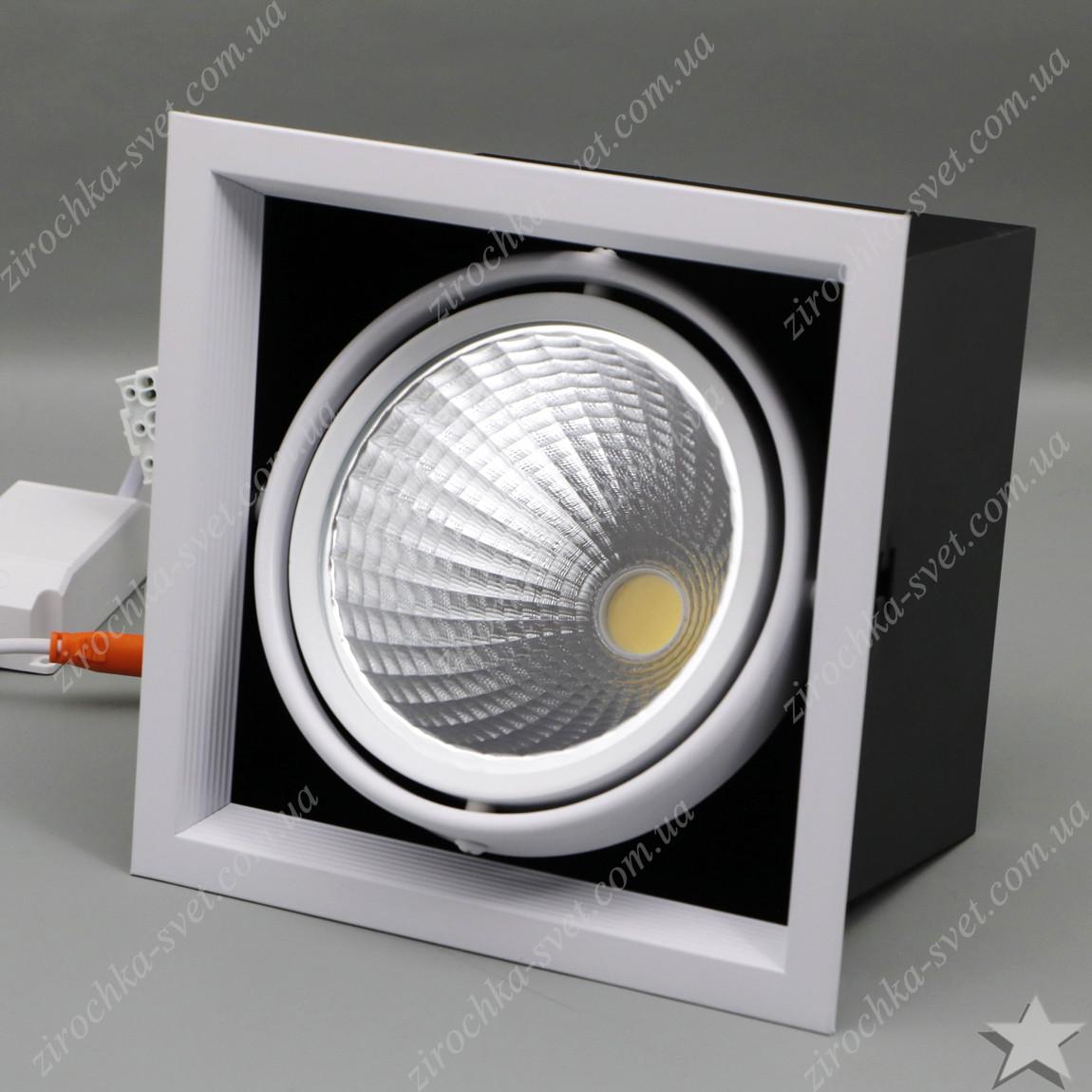 Светильник карданный светодиодный поворотный 30w Feron AL211 COB 4000К черный в белой рамке