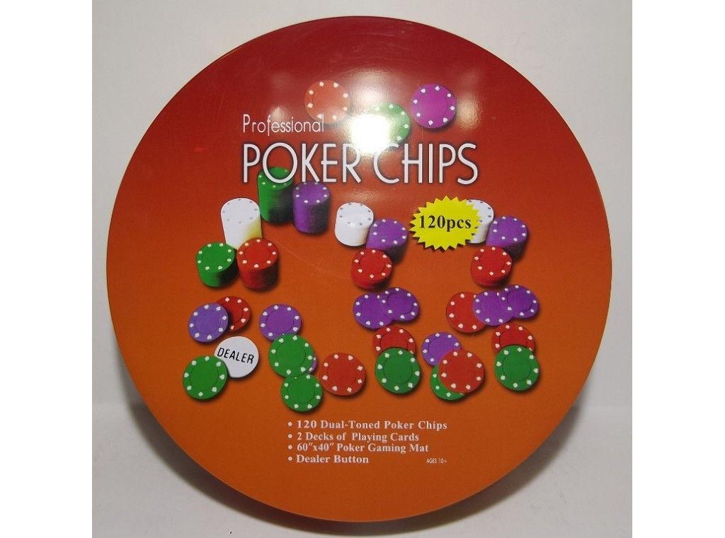 Набор для игры в покер в металлической упаковке 120 фишек+2 колоды карт+полотно I3 - 94 настольный покер