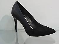 Элегантные женские кожаные туфли на шпильке черные, фото 1