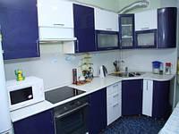 Угловая кухня в синем цвете на заказ