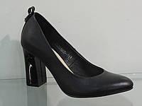 Элегантные женские туфли кожаные натуральные на каблуке, фото 1